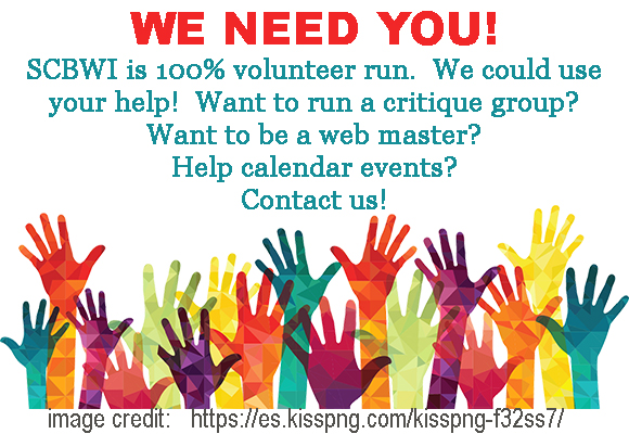 WE NEED YOU! SCBWI is 100% volunteer run.  We could use your help! Want to run a critique group? Want to be a web master? Help calendar events? Contact us!   Image Credit:     https://es.kisspng.com/kisspng-f32ss7/