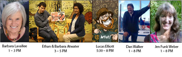AK SCBWI Authors and Illustrators signing books at the Book Fair, Nov. 28