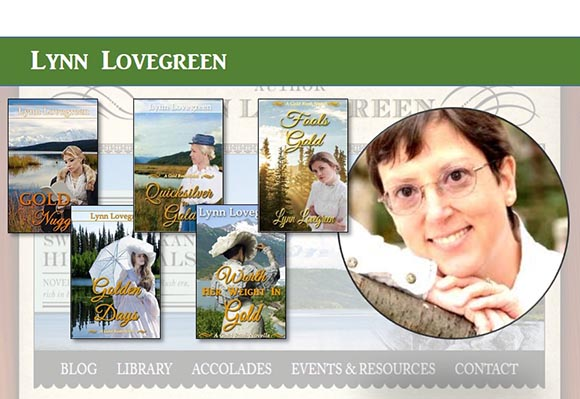 Lynn Lovegreen with her books: Gold Nuggets, Golden Days, Quicksilver to Gold, Worth Her Weight in Gold, Fools Gold.